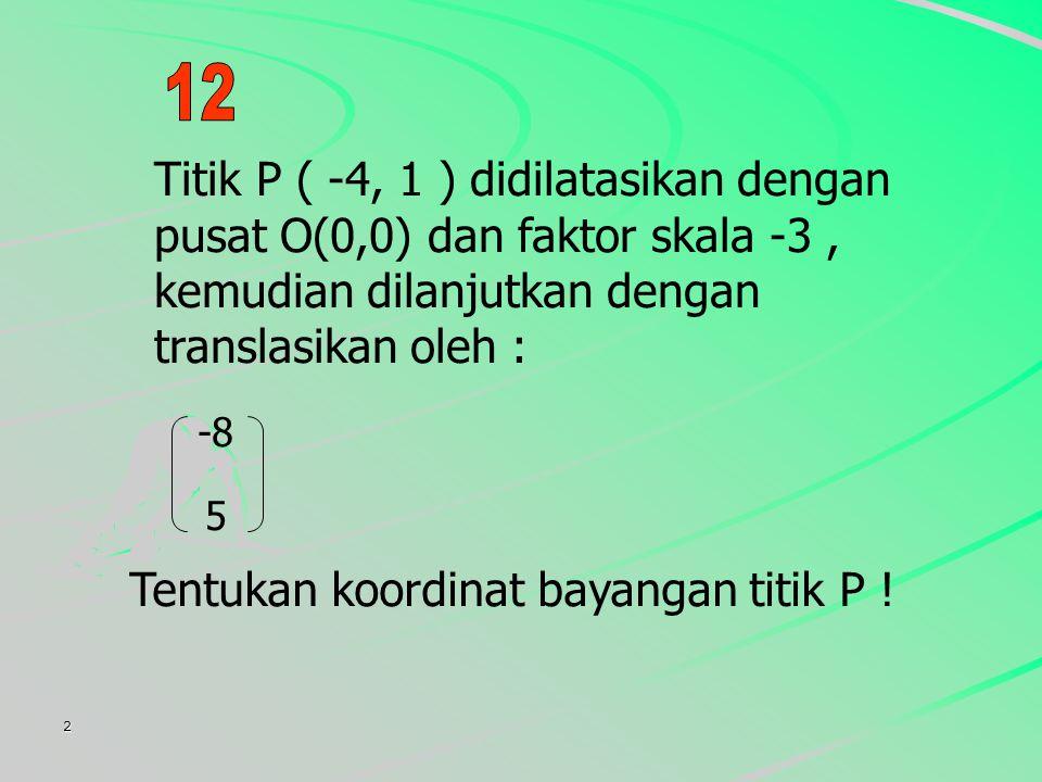 Tentukan koordinat bayangan titik P !