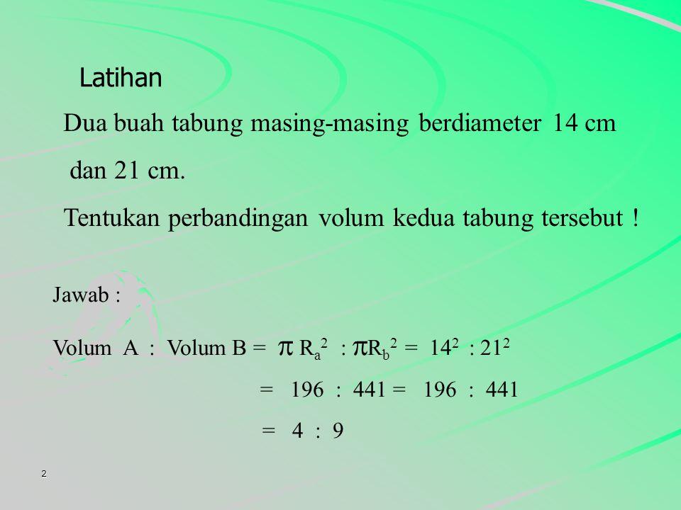 Dua buah tabung masing-masing berdiameter 14 cm dan 21 cm.