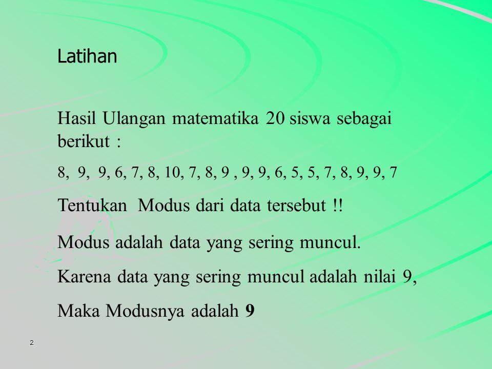 Hasil Ulangan matematika 20 siswa sebagai berikut :