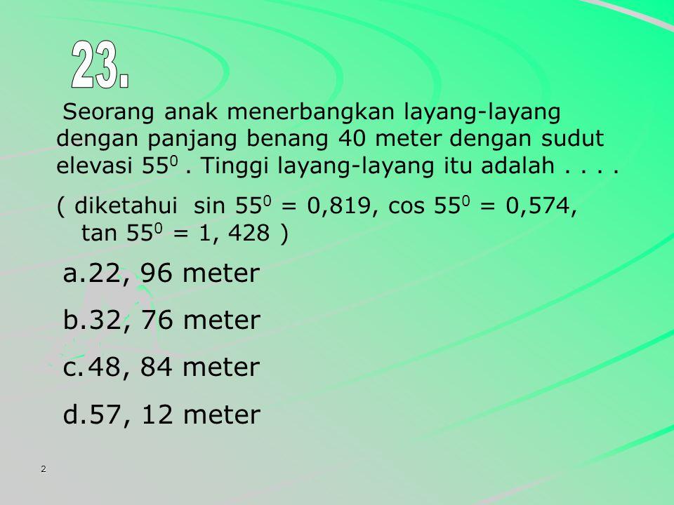 23. 22, 96 meter 32, 76 meter 48, 84 meter 57, 12 meter