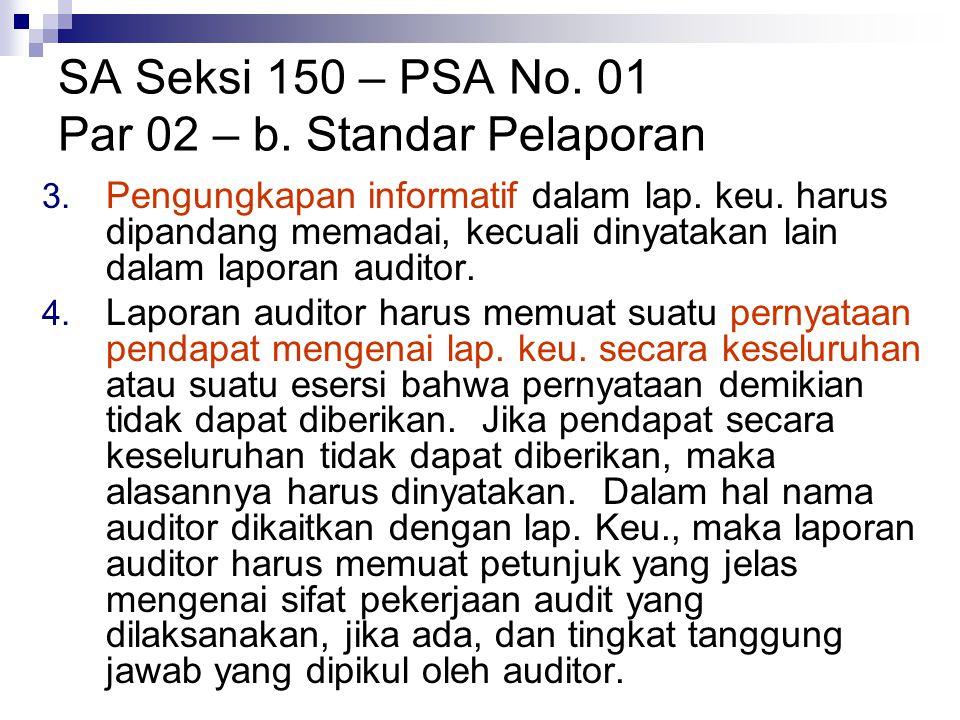 SA Seksi 150 – PSA No. 01 Par 02 – b. Standar Pelaporan