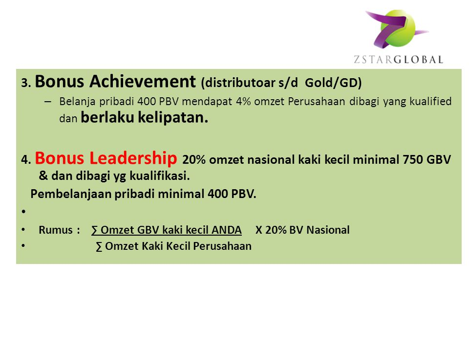 3. Bonus Achievement (distributoar s/d Gold/GD)