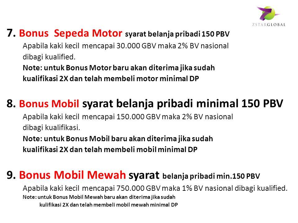 7. Bonus Sepeda Motor syarat belanja pribadi 150 PBV