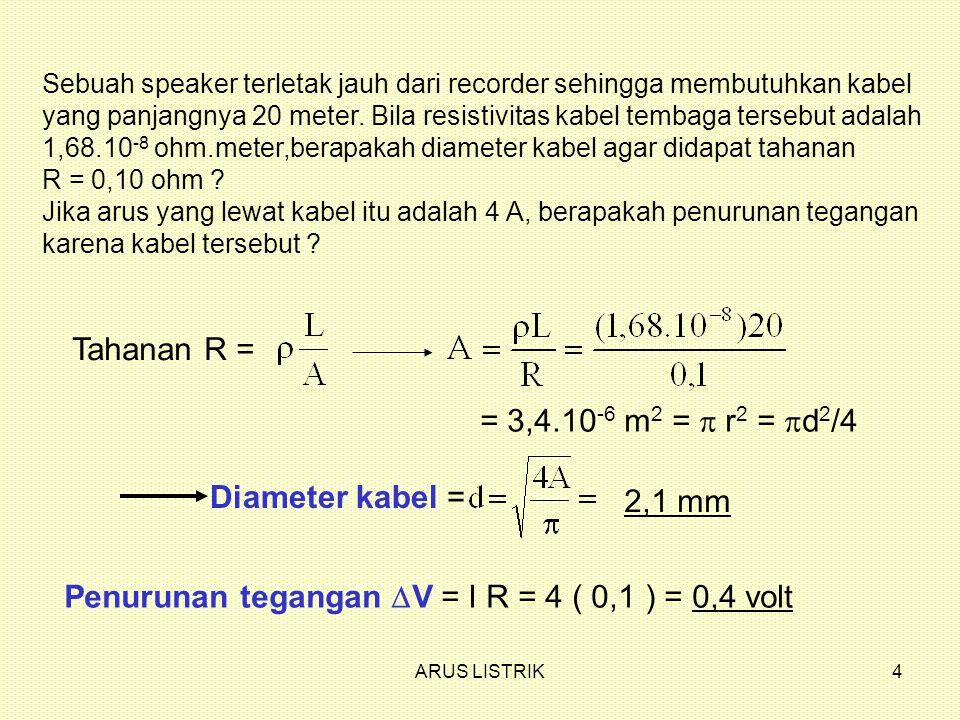 Penurunan tegangan DV = I R = 4 ( 0,1 ) = 0,4 volt