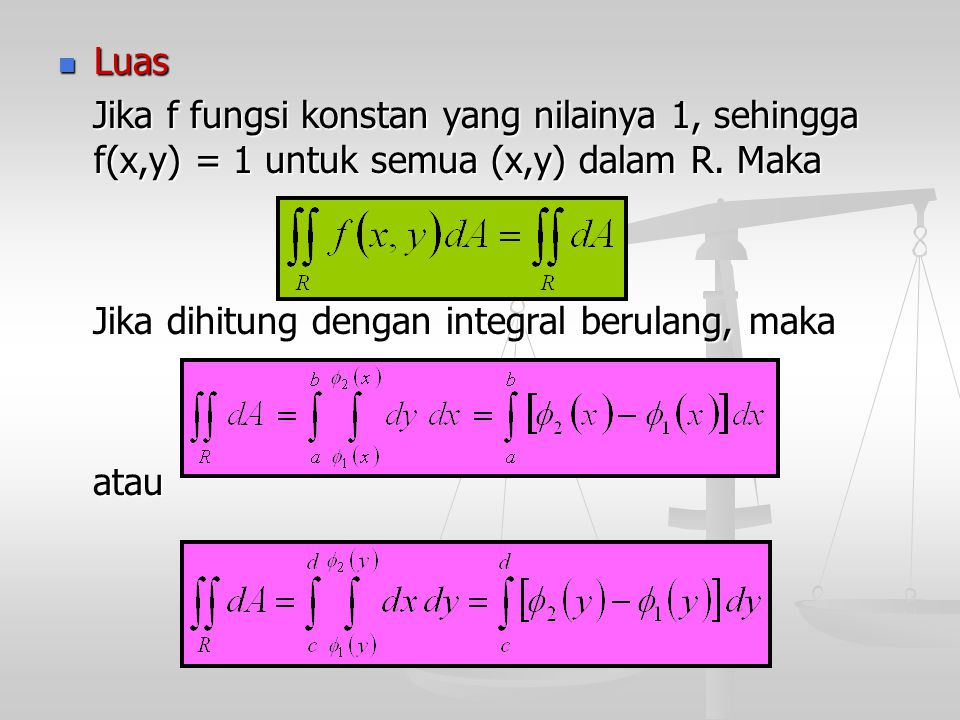 Luas Jika f fungsi konstan yang nilainya 1, sehingga f(x,y) = 1 untuk semua (x,y) dalam R. Maka. Jika dihitung dengan integral berulang, maka.