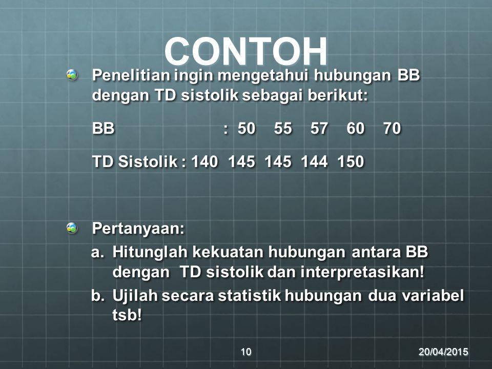 CONTOH Penelitian ingin mengetahui hubungan BB dengan TD sistolik sebagai berikut: BB : 50 55 57 60 70.
