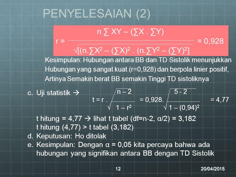 PENYELESAIAN (2) n ∑ XY – (∑X . ∑Y) r = = 0,928