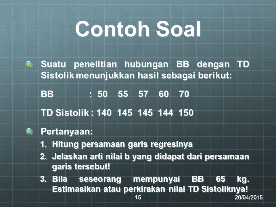 Contoh Soal Suatu penelitian hubungan BB dengan TD Sistolik menunjukkan hasil sebagai berikut: BB : 50 55 57 60 70.