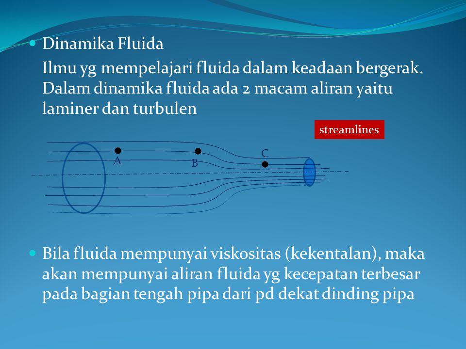 Dinamika Fluida Ilmu yg mempelajari fluida dalam keadaan bergerak. Dalam dinamika fluida ada 2 macam aliran yaitu laminer dan turbulen.