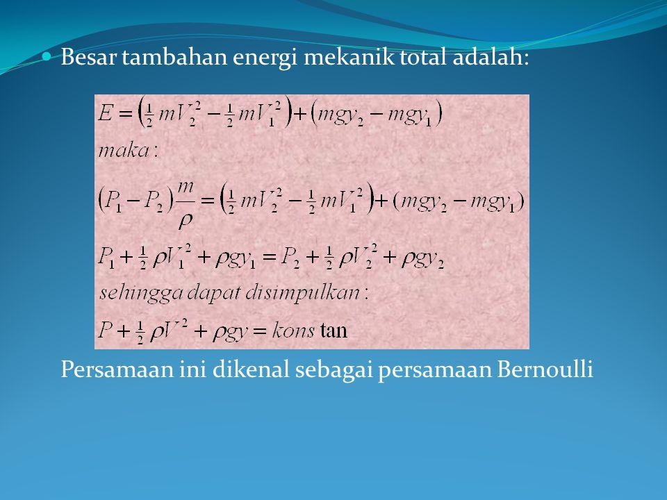 Besar tambahan energi mekanik total adalah: