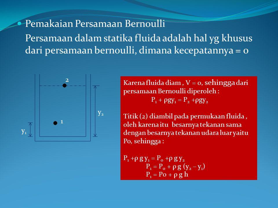 Pemakaian Persamaan Bernoulli