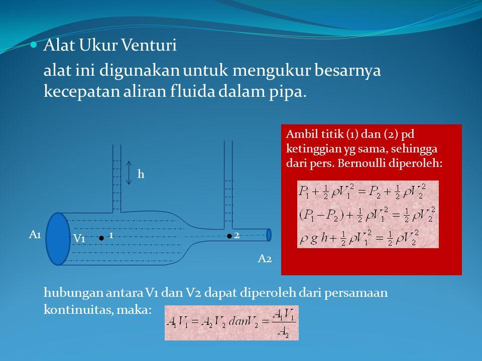 Alat Ukur Venturi alat ini digunakan untuk mengukur besarnya kecepatan aliran fluida dalam pipa.