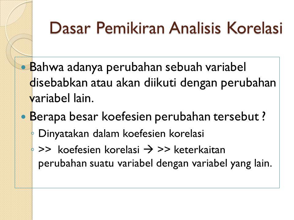 Dasar Pemikiran Analisis Korelasi
