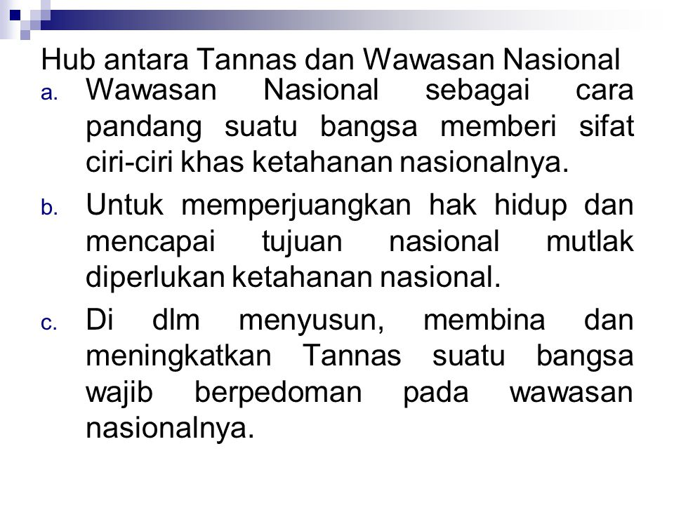Hub antara Tannas dan Wawasan Nasional
