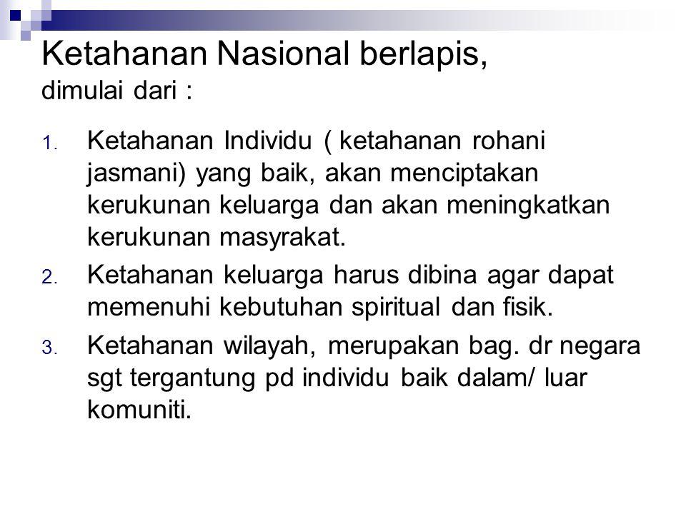 Ketahanan Nasional berlapis, dimulai dari :