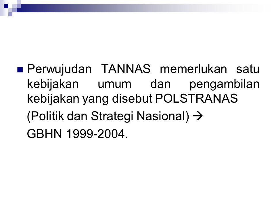 Perwujudan TANNAS memerlukan satu kebijakan umum dan pengambilan kebijakan yang disebut POLSTRANAS