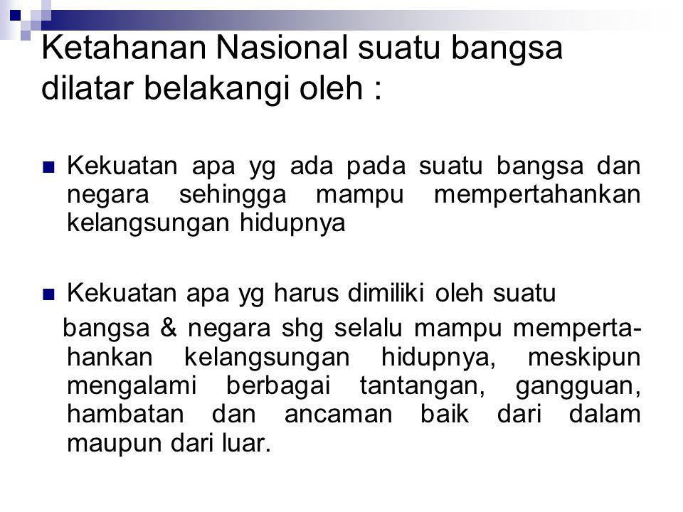 Ketahanan Nasional suatu bangsa dilatar belakangi oleh :