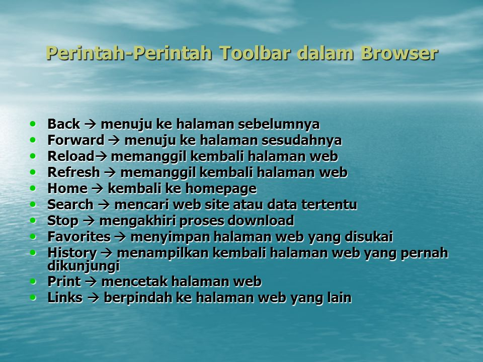 Perintah-Perintah Toolbar dalam Browser