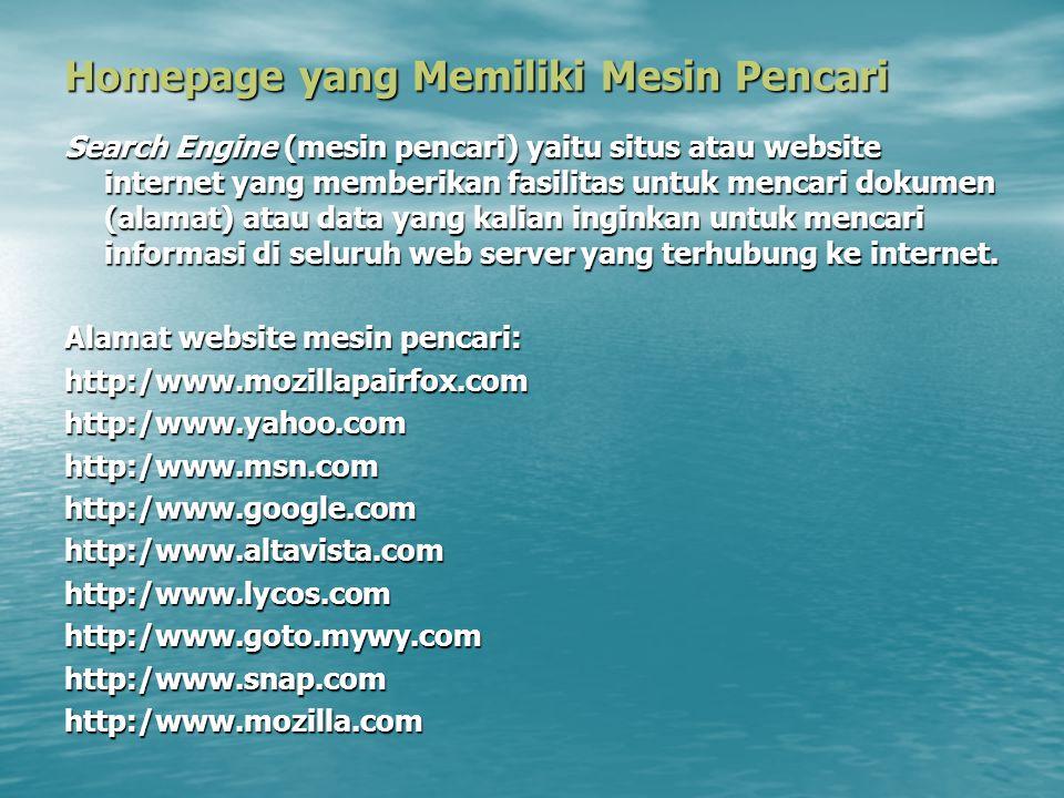 Homepage yang Memiliki Mesin Pencari