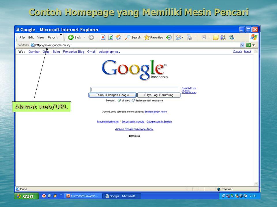 Contoh Homepage yang Memiliki Mesin Pencari