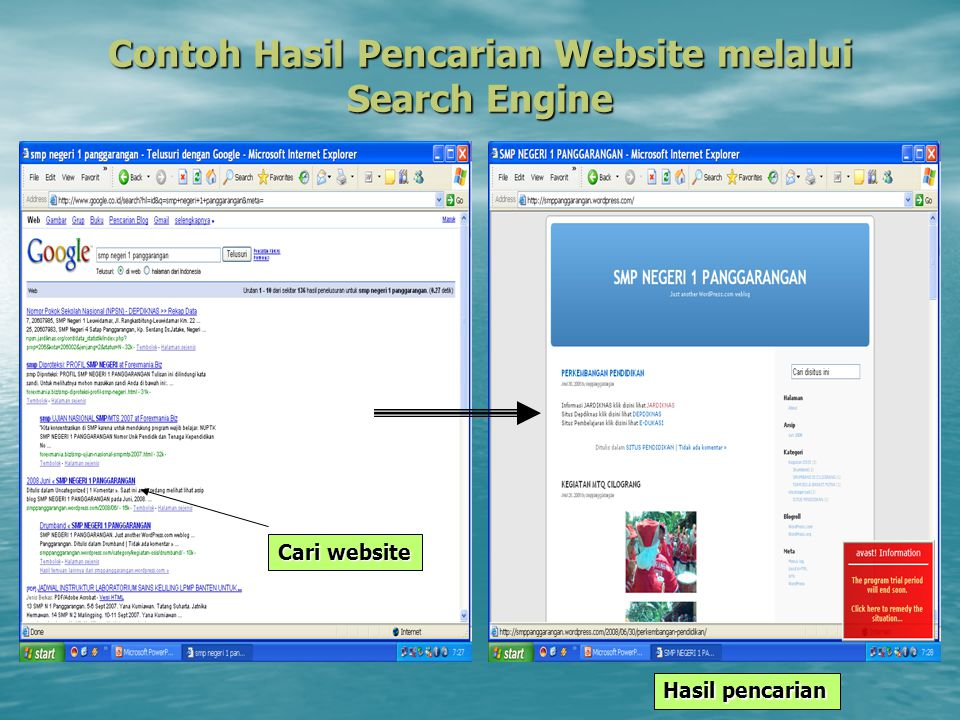 Contoh Hasil Pencarian Website melalui Search Engine