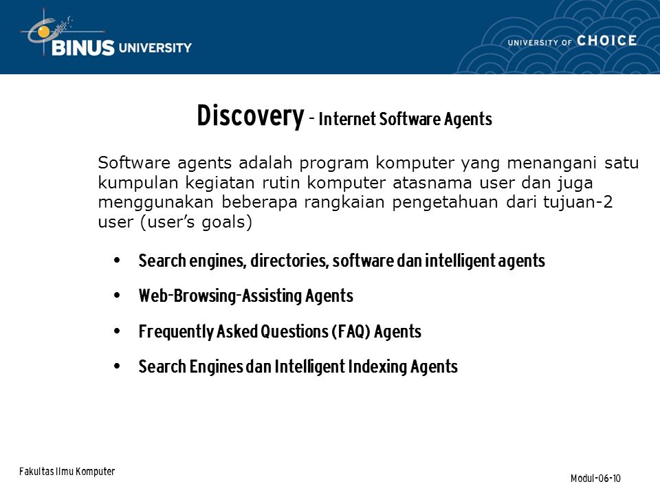 Discovery - Internet Software Agents