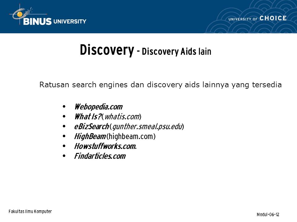 Discovery - Discovery Aids lain