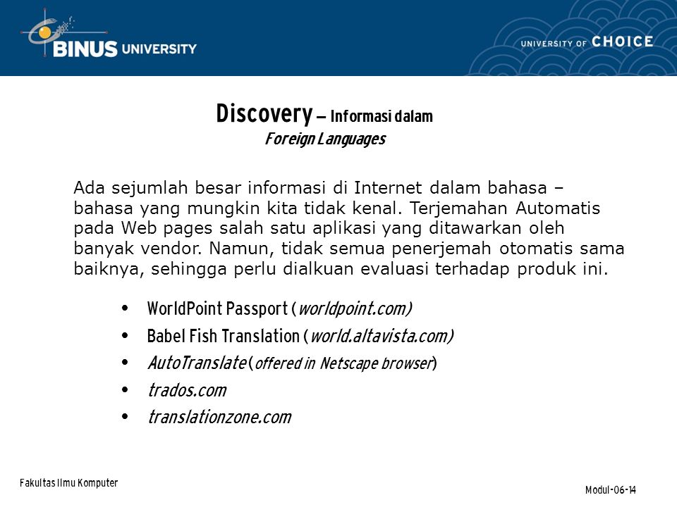 Discovery – Informasi dalam Foreign Languages