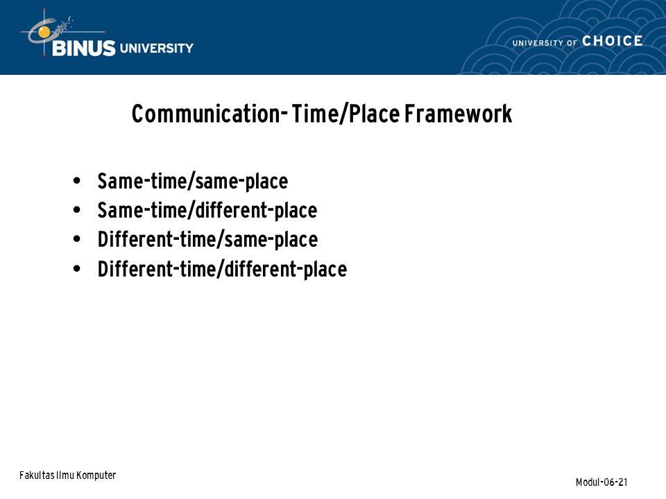 Communication- Time/Place Framework
