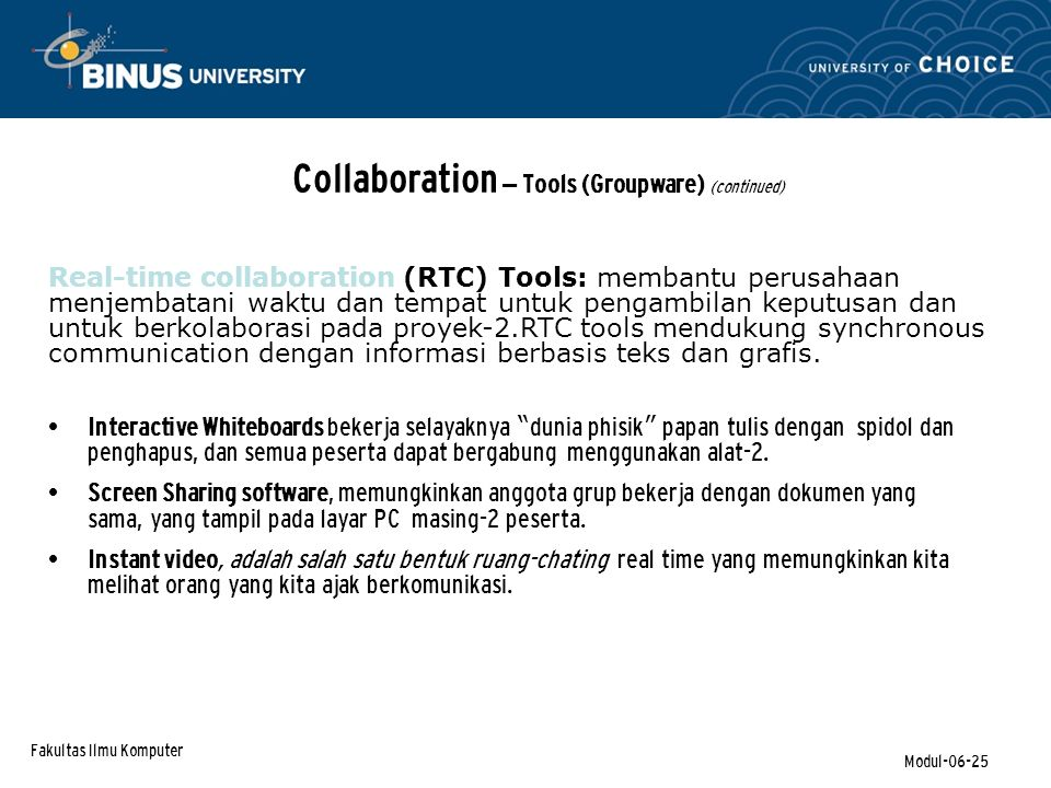 Collaboration – Tools (Groupware) (continued)