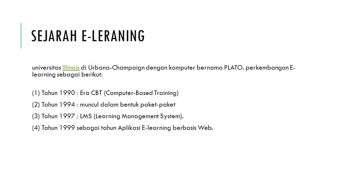 Sejarah e-leraning universitas Illinois di Urbana-Champaign dengan komputer bernama PLATO. perkembangan E- learning sebagai berikut: