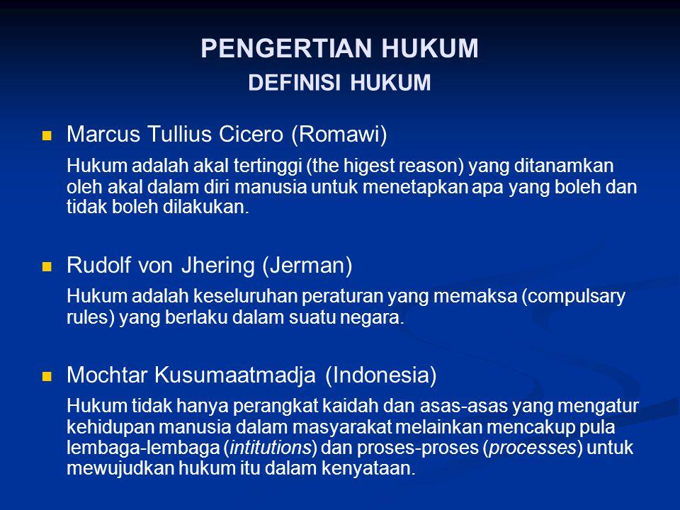 PENGERTIAN HUKUM DEFINISI HUKUM Marcus Tullius Cicero (Romawi)