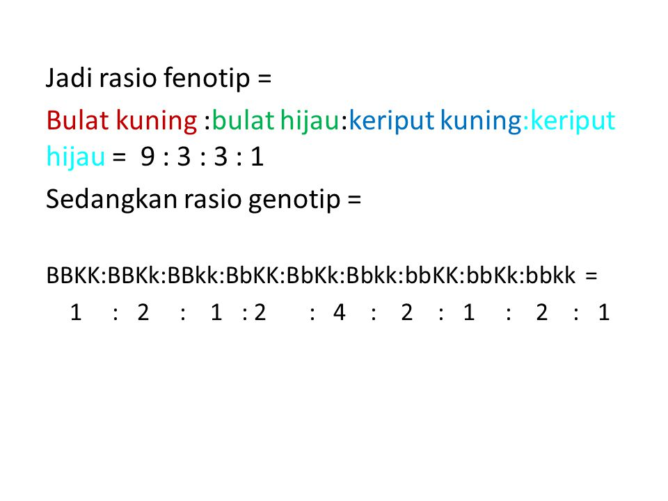 Bulat kuning :bulat hijau:keriput kuning:keriput hijau = 9 : 3 : 3 : 1