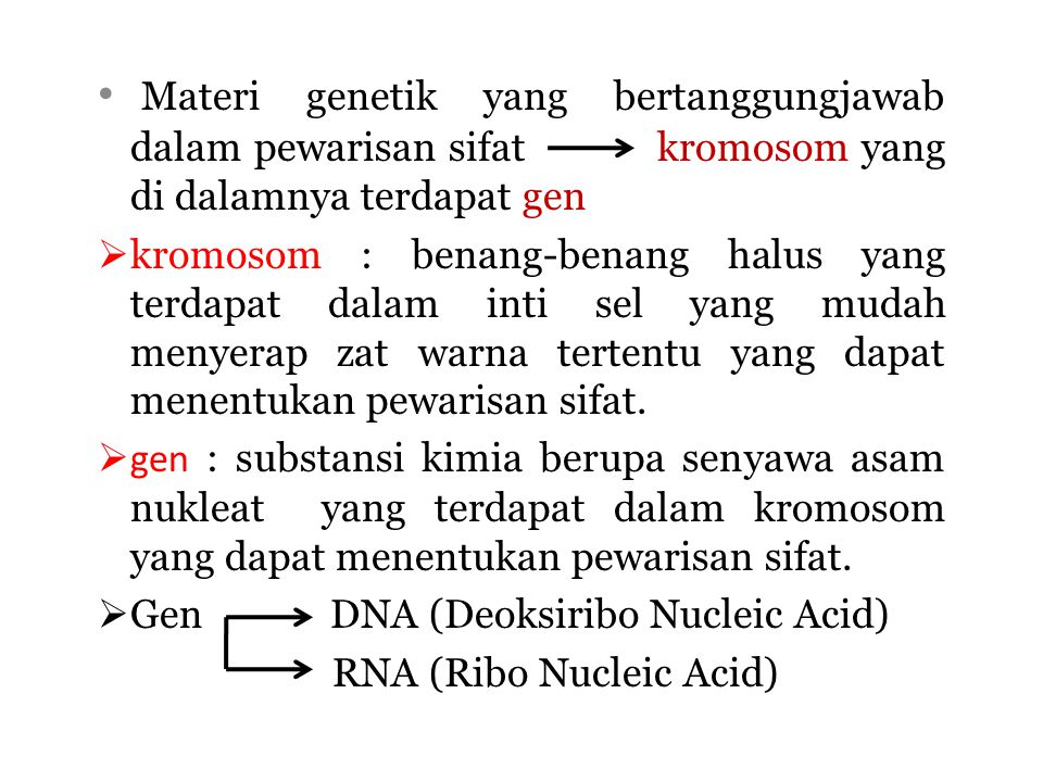 Materi genetik yang bertanggungjawab dalam pewarisan sifat kromosom yang di dalamnya terdapat gen