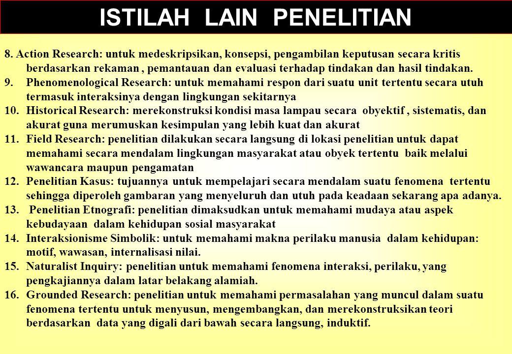 ISTILAH LAIN PENELITIAN