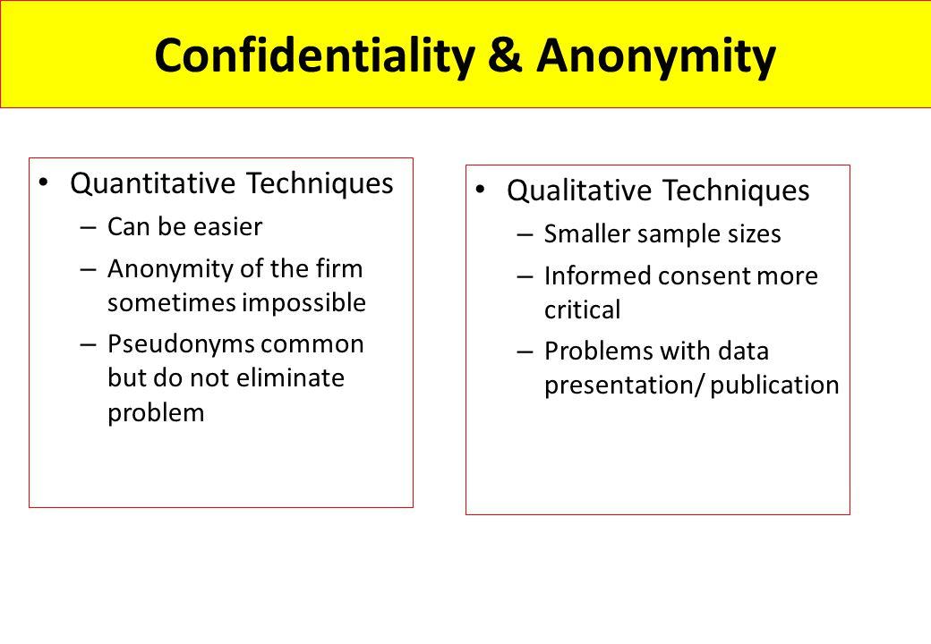 Confidentiality & Anonymity