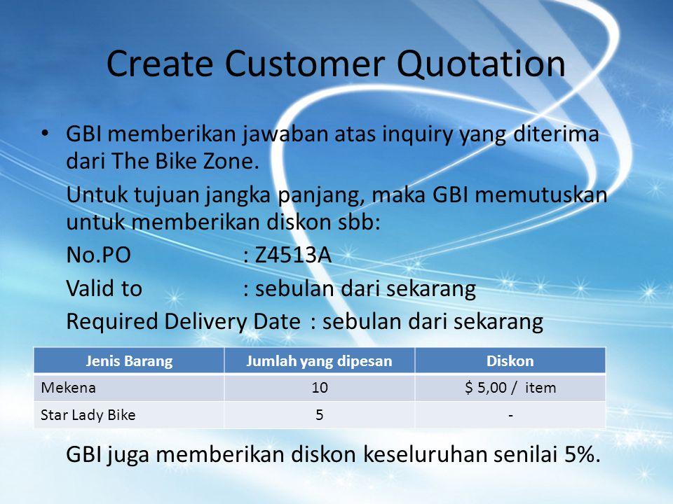 Create Customer Quotation