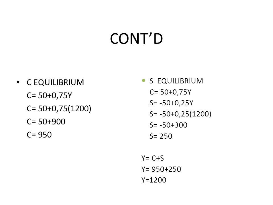 CONT'D C EQUILIBRIUM C= 50+0,75Y C= 50+0,75(1200) C= 50+900 C= 950