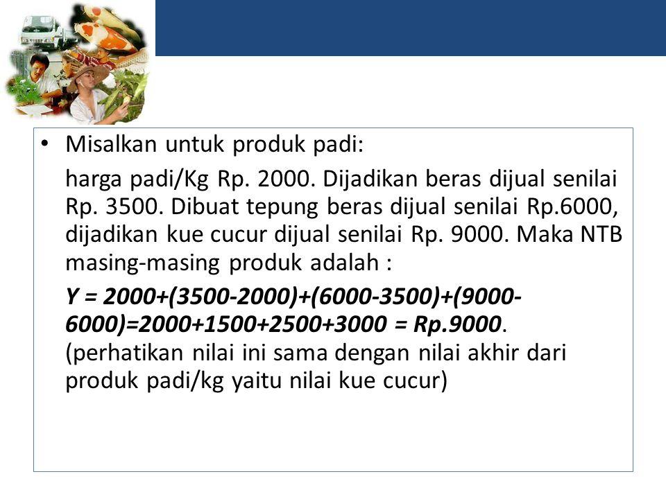 Misalkan untuk produk padi: