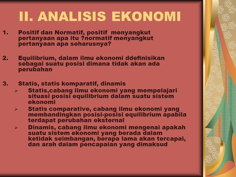 II. ANALISIS EKONOMI Positif dan Normatif, positif menyangkut pertanyaan apa itu normatif menyangkut pertanyaan apa seharusnya