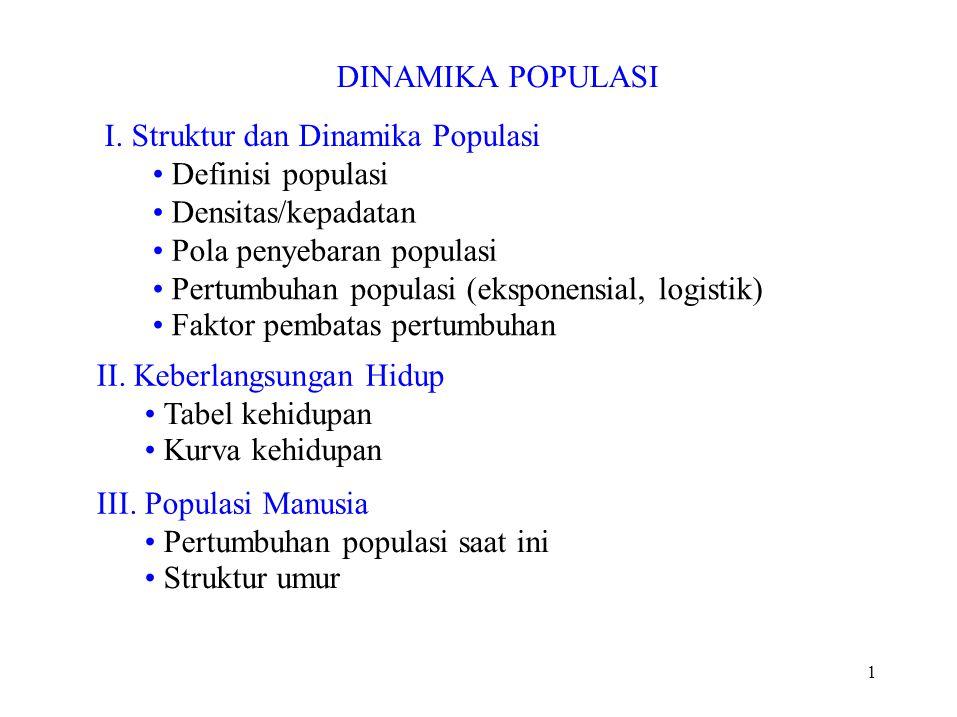I. Struktur dan Dinamika Populasi • Definisi populasi