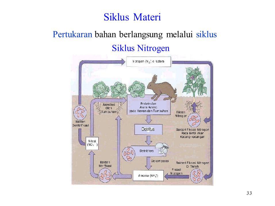 Siklus Materi Pertukaran bahan berlangsung melalui siklus