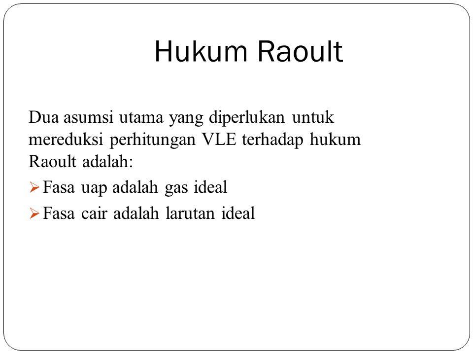 Hukum Raoult Dua asumsi utama yang diperlukan untuk mereduksi perhitungan VLE terhadap hukum Raoult adalah: