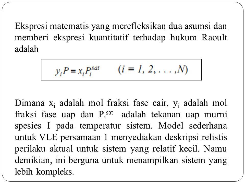 Ekspresi matematis yang merefleksikan dua asumsi dan memberi ekspresi kuantitatif terhadap hukum Raoult adalah Dimana xi adalah mol fraksi fase cair, yi adalah mol fraksi fase uap dan Pisat adalah tekanan uap murni spesies I pada temperatur sistem.