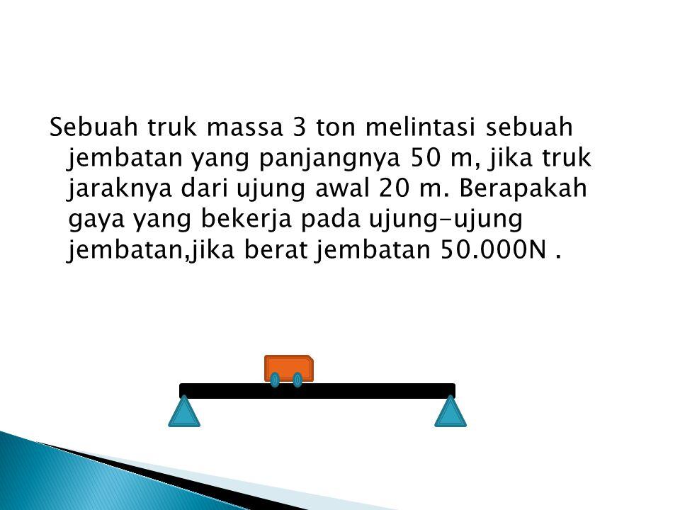 Sebuah truk massa 3 ton melintasi sebuah jembatan yang panjangnya 50 m, jika truk jaraknya dari ujung awal 20 m.