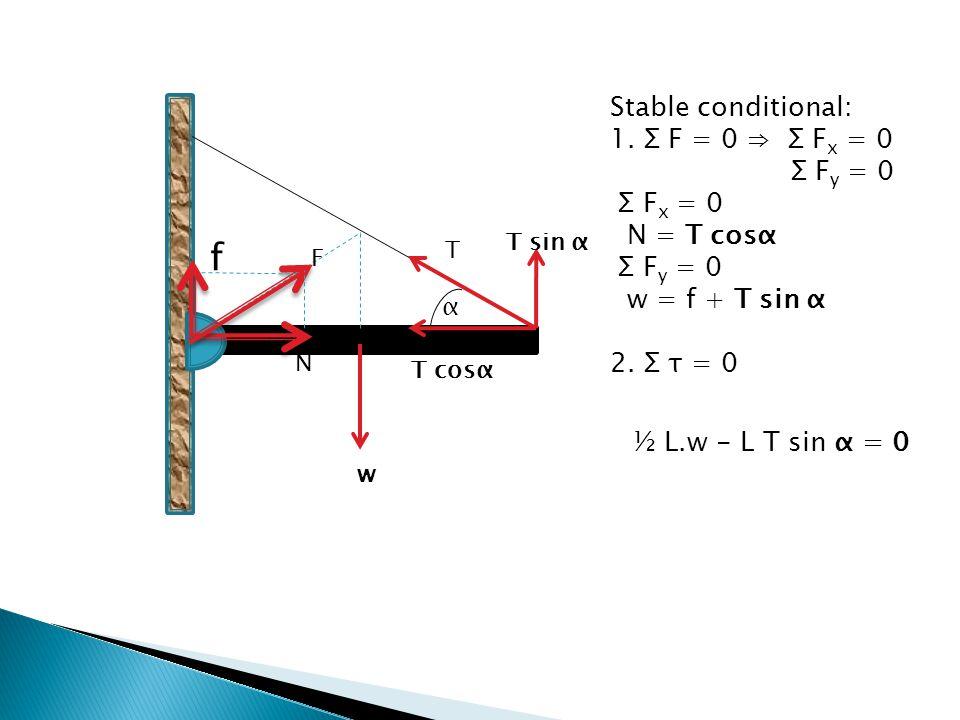 f Stable conditional: 1. Σ F = 0 ⇒ Σ Fx = 0 Σ Fy = 0 Σ Fx = 0