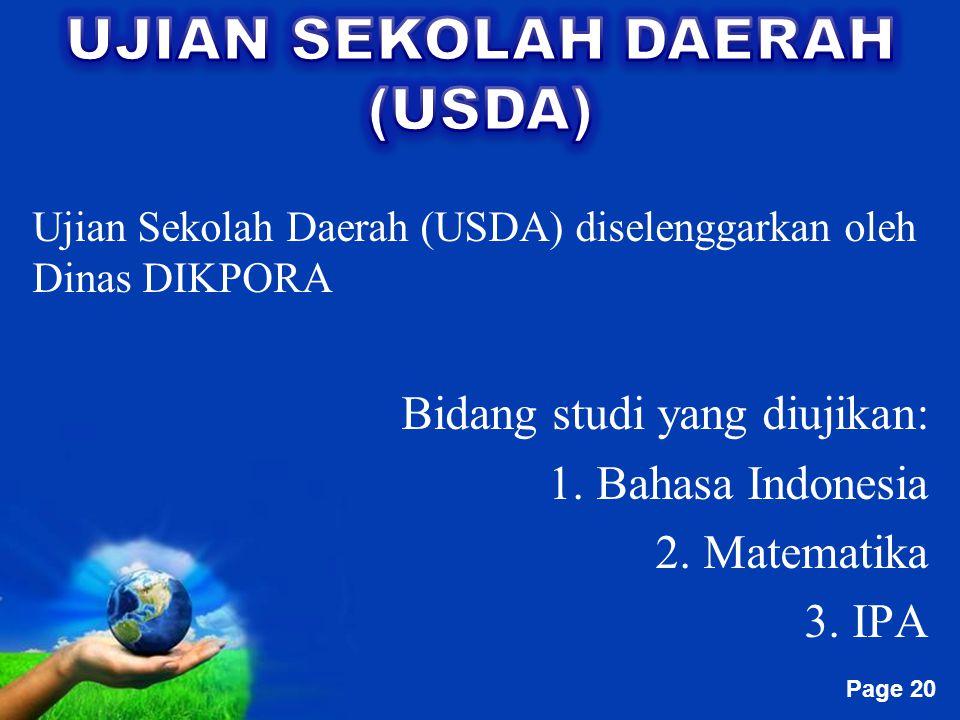 UJIAN SEKOLAH DAERAH (USDA)