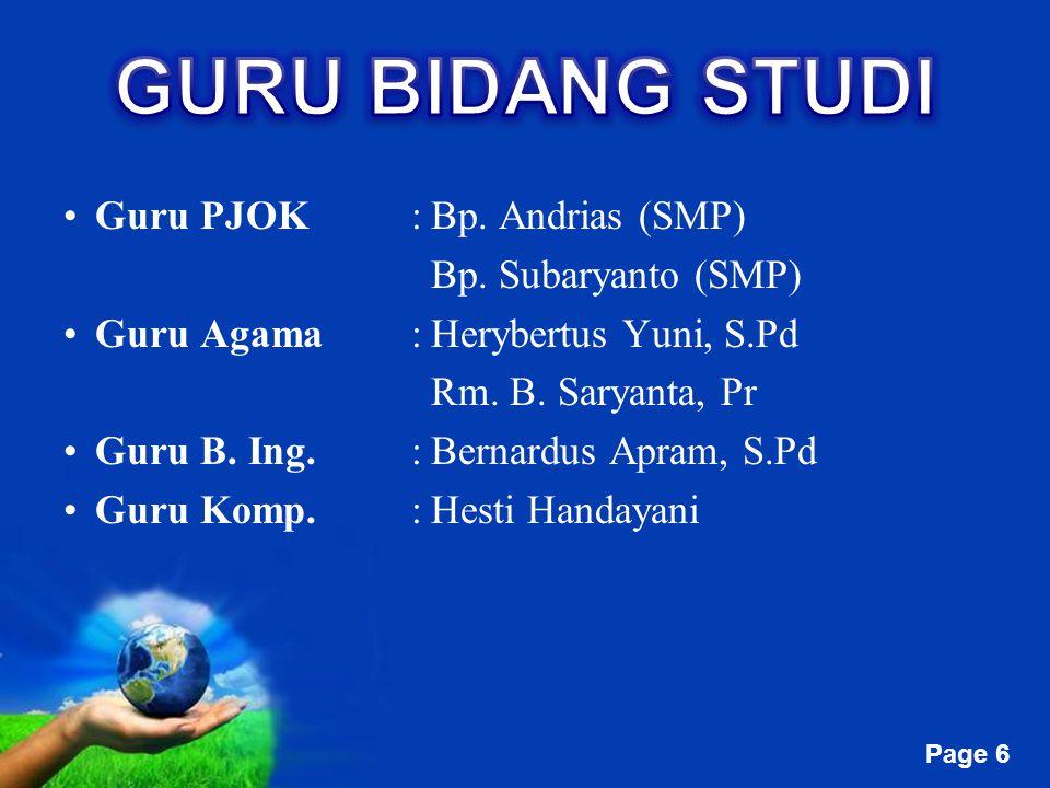 GURU BIDANG STUDI Guru PJOK : Bp. Andrias (SMP) Bp. Subaryanto (SMP)