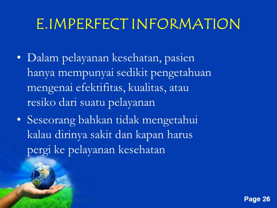 E.IMPERFECT INFORMATION