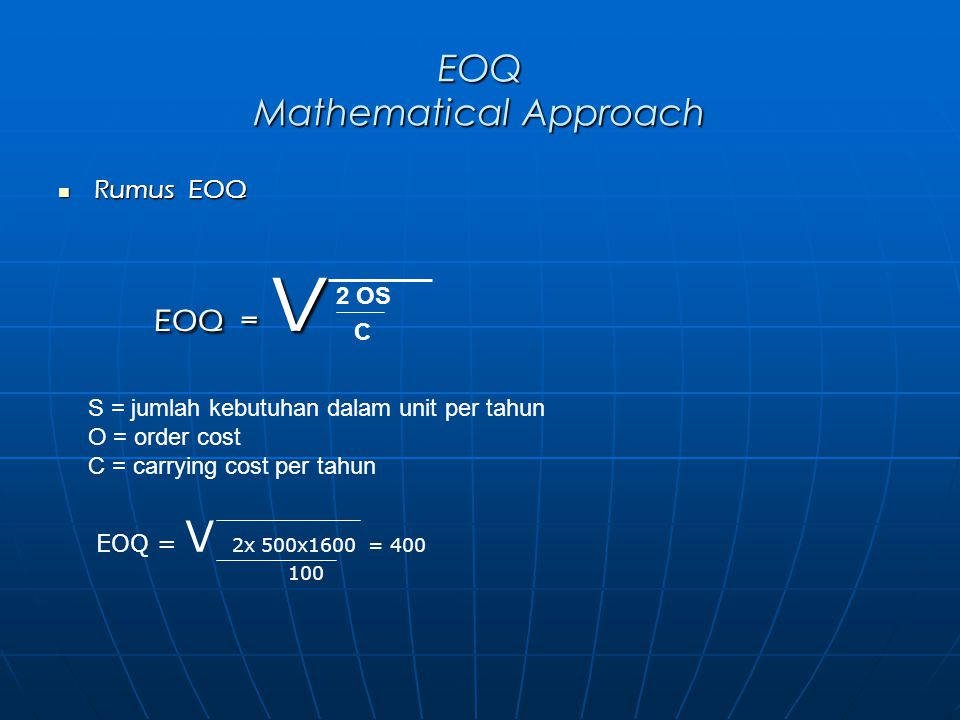 EOQ Mathematical Approach